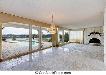 Wohnzimmer, marmor, leerer , boden. Marmor, wohnzimmer ...