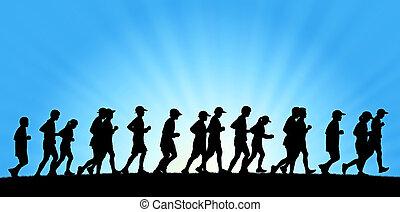 groß, menschengruppe, rennender , auf, blauer himmel, hintergrund
