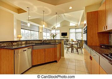 Wohnzimmer, ceiling., modern, groß, hoch, holz, kueche ...