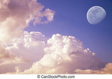 groß, mond, in, der, abend, himmelsgewölbe