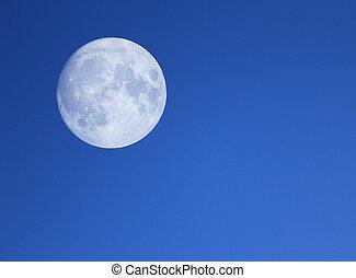 groß, mond, in, der, nacht, blaues, sky.