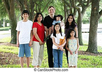 groß, multirassisch, sieben, familie