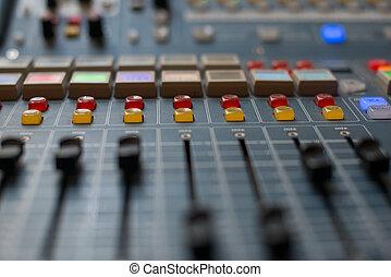 groß, musik, mixer, buero