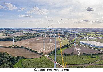 groß, nördlich , viele, turbinen, bauernhof, wind, stadt,...