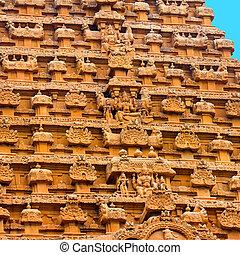 groß, nadu, hindu, brihadishwara, eingang, element, indien,...