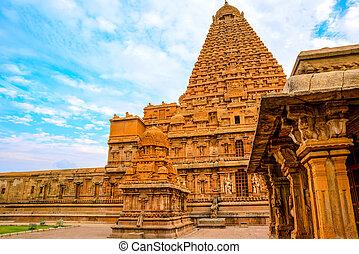 groß, nadu, hindu, brihadishwara, indien, closeup,...