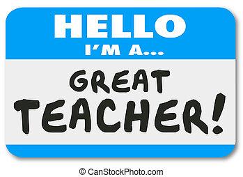 groß, name, schule, etikett, lernen, ich bin, bildung, lehrer