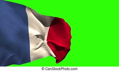 groß, national, blasen, fahne, frankreich