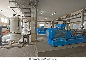 groß, pumpe, zimmer, maschinerie