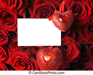 groß, rosen, blumengebinde, und, leer, karte