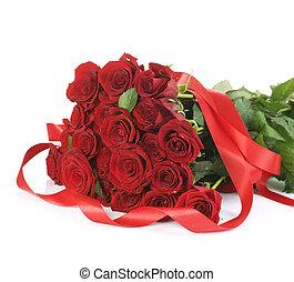 groß, rote rosen, blumengebinde, aus, weißes
