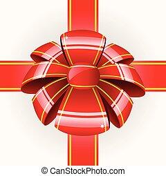 groß, roter bogen, mit, geschenkband