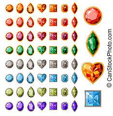 groß, sammlung, von, verschieden, juwelen, weiß