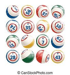 groß, satz, von, lotto, bingo, kugeln