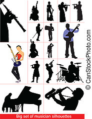 groß, satz, von, musiker, silhouettes.