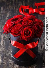 groß, schöne , blumengebinde, von, rote rosen