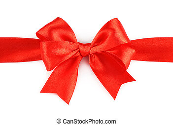 groß, schleife, hintergrund, weißes, feiertag, rotes