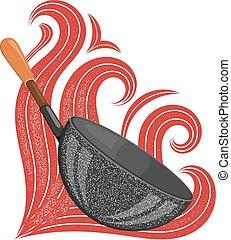 groß, schwarz, pfanne, mit, a, stilisiert, rotes , flames., bestand, vektor, abbildung