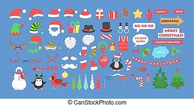 groß, set., photobooth, stützen, party, weihnachten