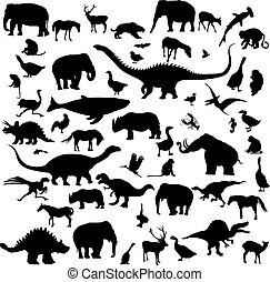 groß, silhouetten, satz, tiere