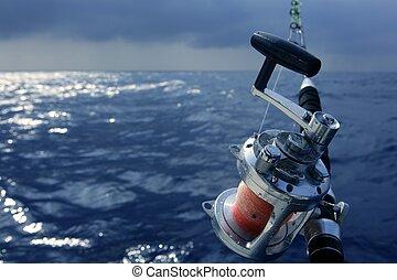 groß, spiel, salzwasser, fischerei, angler, boot