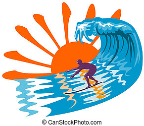 groß, surfen, wellen