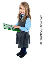 groß, taschenrechner, drücken, grüner schlüssel, schoolkid, 5