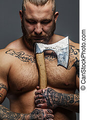 groß, tattooes, brutal, besitz, axt, männerbart