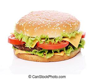 groß, und, schmackhaft, hamburger