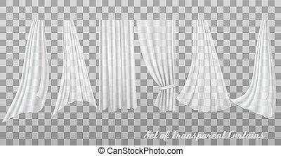 groß, vektor, curtains., durchsichtig, sammlung