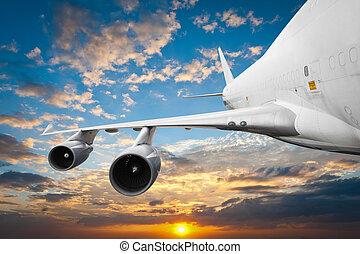 groß, verkehrsflugzeug, in, der, himmelsgewölbe