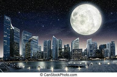 groß, voll, himmelsgewölbe, mond, singapur