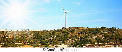 groß, windmühle, auf, der, hügel, sonniger tag