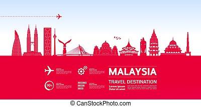 großartig, bestimmungsort, malaysien, vektor, illustration...