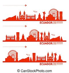 großartig, illustration., ekuador, reise, vektor,...