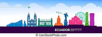 großartig, illustration., ekuador, reise, vektor, bestimmungsort
