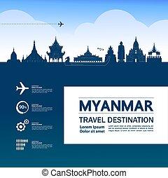 großartig, illustration., vektor, reise, myanmar, ...