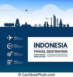 großartig, indonesien, vektor, bestimmungsort, reise, ...