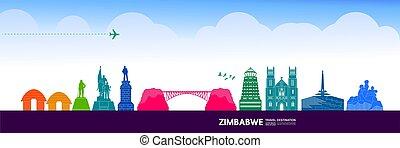 großartig, vektor, illustration., simbabwe, spielraum- ...