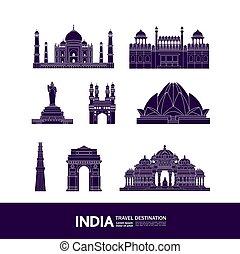 großartig, vektor, indien, illustration., bestimmungsort, ...