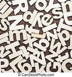 großbuchstaben, und, lowercase, hölzern, briefe, hintergrund