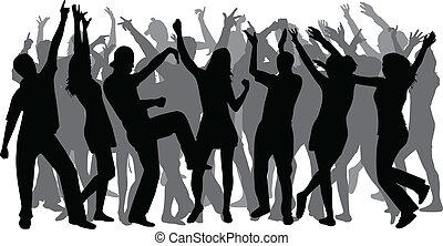 große gruppe, disco-dancing, leute