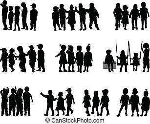 große gruppe, kinder