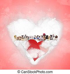 große gruppe, von, hunden, feiern, tag valentines