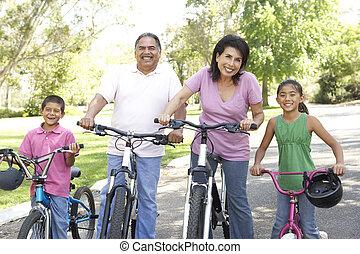 großeltern, fahrräder, park, enkelkinder, reiten