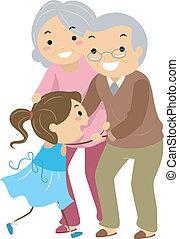 großeltern, paare, mit, enkelkind, stickman