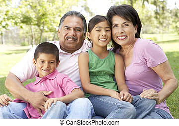 großeltern, park, mit, enkelkinder