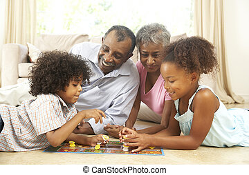 großeltern, spielende , brettspiel, hause, mit, enkelkinder