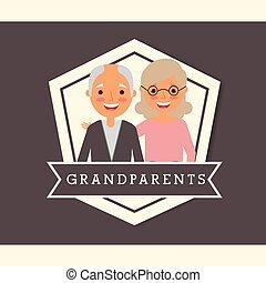 großeltern, tag, leute