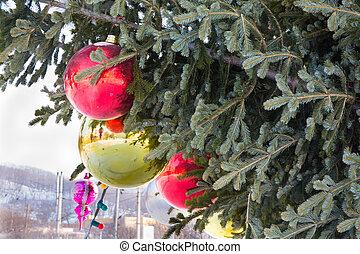 großes glas, weihnachten, spielzeuge, und, balls.